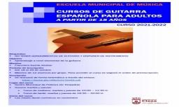 Clases de guitarra española para adultos (a partir de 18 años) ofertadas por la Escuela Municipal de Música de Cieza – 2020-2021